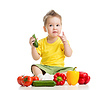 Child or kid eating healthy food | Stock Foto
