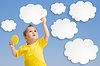 Dziecko lub dziecko trzymać chmury i słońce w dłoniach | Stock Foto