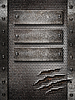 Metal damaged grate background with three plates an | Stock Foto
