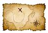 표시된 위치와 해적 보물지도 | Stock Illustration