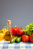 Healthy food fresh vegetables still life on blue | Stock Foto