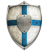 Photo 300 DPI: aged metal shield with blue cross