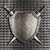 ID 4647357 | 방패와 칼을 두 금속에 걸려 넘어, | 높은 해상도 그림 | CLIPARTO