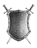 Photo 300 DPI: large medieval shield with two crossed swords