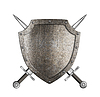 Photo 300 DPI: knight metal shield with crossed swords