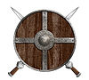 ID 4648158 | Zwei gekreuzte Schwerter und Holz Viking-Schild- | Illustration mit hoher Auflösung | CLIPARTO