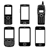 Telefony komórkowe sylwetki zestaw | Stock Vector Graphics