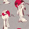 Tradycyjnej japońskiej gejszy szwu wzór | Stock Vector Graphics
