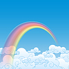 Colorful Rainbow With Cloud, | Stock Vector Graphics