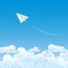 Papierowy samolot z nieba z chmurami | Stock Vector Graphics