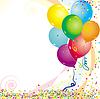 Luftballon, Konfetti, Partyhintergrund | Stock Vektrografik
