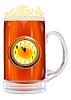 Bierkrug mit Uhr auf weißem