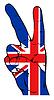 Friedenszeichen mit britischer Flagge