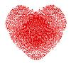 Отпечатков пальцев в форме сердца | Векторный клипарт