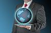 ID 4308908 | Business man with tablet and earth | Foto stockowe wysokiej rozdzielczości | KLIPARTO