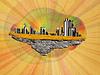 Abstrakt schwimmende Insel mit Stadt | Stock Illustration