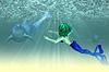 ID 4622148 | 돌고래와 인어 소녀 | 높은 해상도 그림 | CLIPARTO