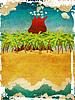 Vintage мультяшный вулкан острова | Иллюстрация