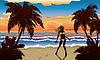 Glückliche Frau am Strand | Stock Vektrografik