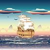 Segelschiff auf See | Stock Vektrografik