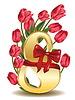 8. März Grußkarte mit Tulpen | Stock Vektrografik