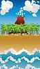 Cartoon Vulkaninsel