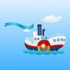 Nautik-Schiff. Ribbon, Flagge und Sea Boat