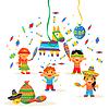 Kinder feiern Posada, brechen traditionelle