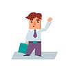 Geschäftsmann Raising Hand Cartoon Charakter