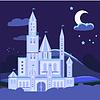 Nachtlandschaft mit Burg Flach