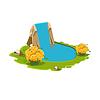 Insel mit See und Wasserfall