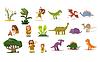 Dinosaurs and Prehistoric Plants, People, Flat Set