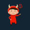 Boy In Red Devil Haloween Disguise
