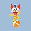 Clown Balancieren auf einem Bein