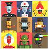 Cartoon Roboter unterschiedlicher Berufe
