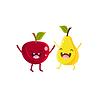 Apfel und Birne Cartoon Freunde
