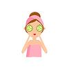 Mädchen, das Gurke Mask