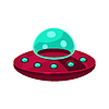 Fliegende Untertasse Spielzeug Flugzeug-Symbol