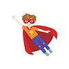 Kid In Superheld-Kostüm Fliegen