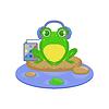 Cartoon-Frosch-Zeichen Musik hören