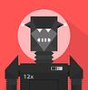 Schwarzer schlechter Roboter-Zeichen