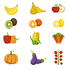 Frisches Obst und Gemüse Icon Set
