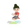 Mädchen, das Papier Origami Boot