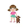 Mädchen, das mit Teddybären