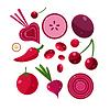Frische Rote Obst und Gemüse Set
