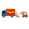 Boxen fallen aus Ladung-LKW und Gabelstapler