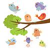 Verschiedene nette kleine Vögel sitzen Und Fliegen Aroun