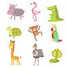 Afrikanische Tiere Icon Set