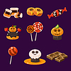 Set bunte Halloween Süßigkeiten und Bonbons