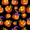 Muster von Halloween Kürbisse in Hexe-Hut